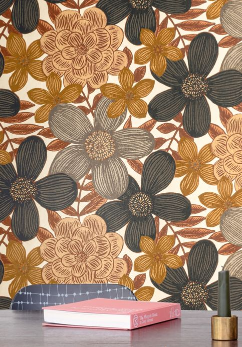 Floral Wallpaper Wallpaper Othilia olive brown Room View