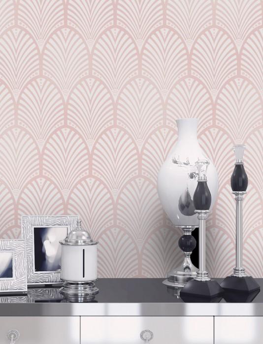 Papier peint Lyria Motif mat Surface irisée Éventails art déco Rose pâle chatoyant Blanc crème