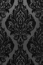Wallpaper Eshara Shimmering base surface Baroque elements Anthracite Black