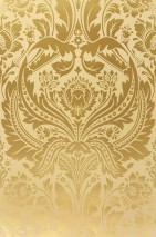 Wallpaper Manus Shiny pattern Matt base surface Floral damask Pale sand yellow Gold