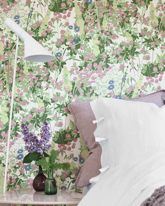 Floral Wallpaper Wallpaper Freya pale red violet Room View