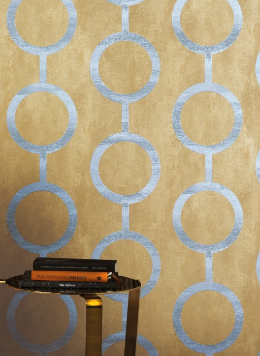 Wallpaper Florin Matt Geometrical elements Circular pattern Green brown Matt gold Grey Pearl light grey