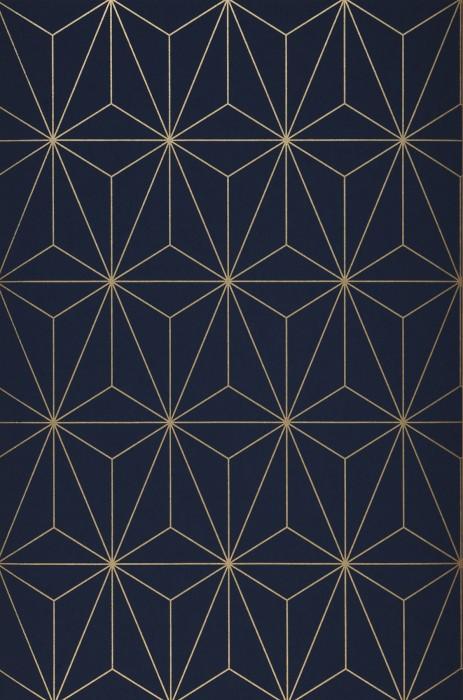 Papier peint Morton Motif chatoyant Surface mate Prismes Bleu acier Doré brillant
