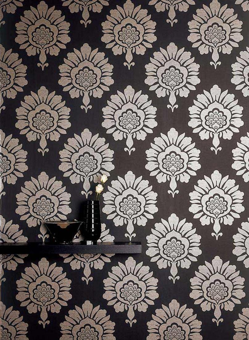 Papier Peint Hermes Anthracite Or Blanc Papier Peint Des Annees 70