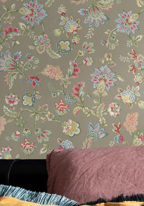 Papel de parede floral Papel de parede Filippa cinza oliva Ver ambiente