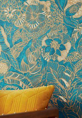Wallpaper Welamie aqua shimmer Room View