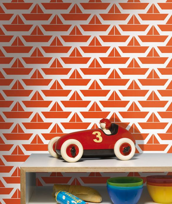 Maritime Wallpaper Wallpaper Divis orange red Room View