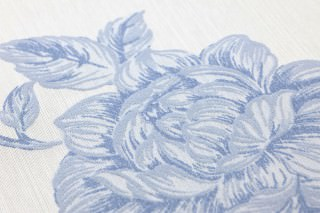 Papier peint Evangeline Chatoyant Vrilles de fleur Blanc crème Bleu brillant Bleu clair