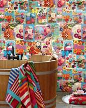 Wallpaper Eirene Matt Flowers Postcards Butterflies Birds Blue Yellow Green Red Violet White