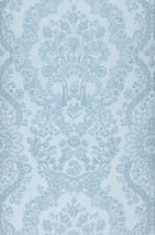 Wallpaper Nuria Matt Floral damask Ships Animals Pale blue Pastel blue