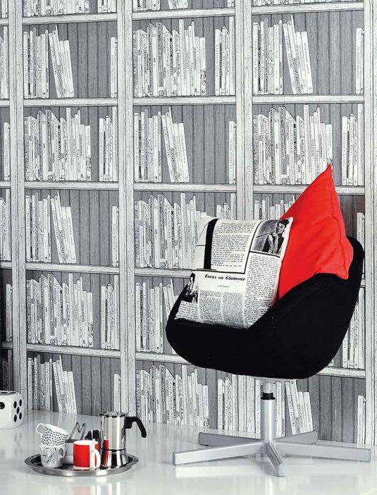 Archiv Tapete Bookcase Grau Raumansicht
