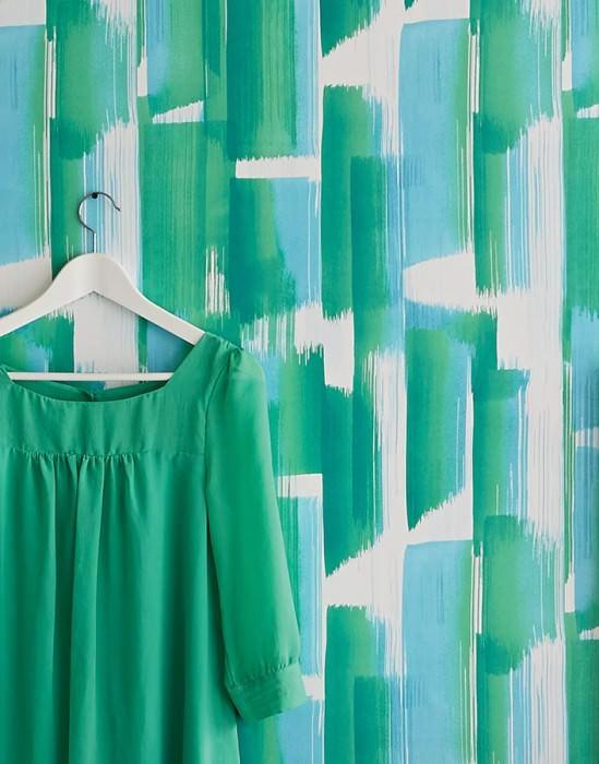 Papel pintado Pandero Mate Arte Moderno Rayas Tonos de verde Azul pastel Blanco