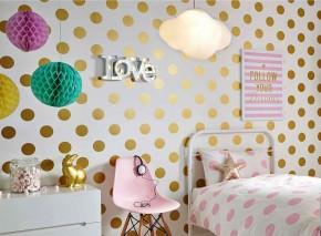 Wallpaper Teena Matt Dots White Gold shimmer