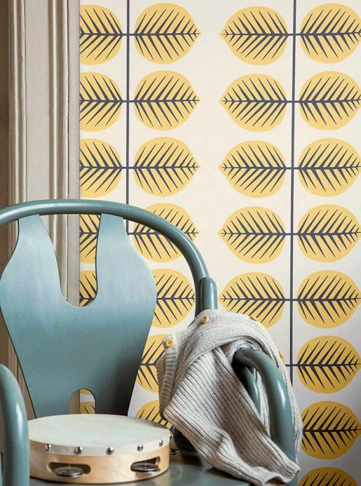 Floral wallpaper Wallpaper Panella light yellow Room View