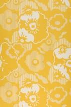 Papel pintado Catia Mate Flores Amarillo limón Blanco grisáceo