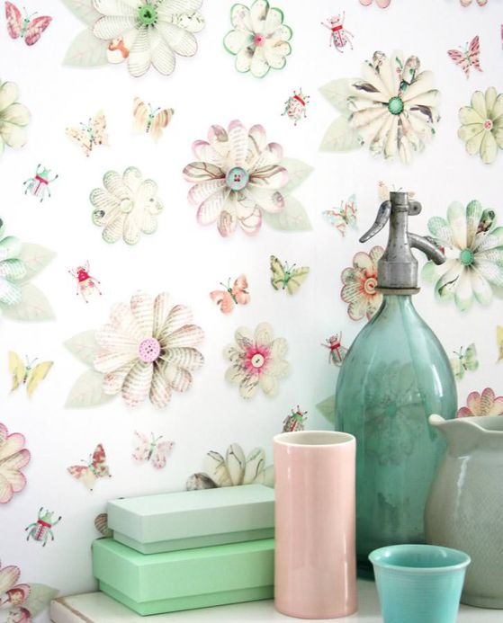 Floral Wallpaper Wallpaper Flowers light ivory Room View