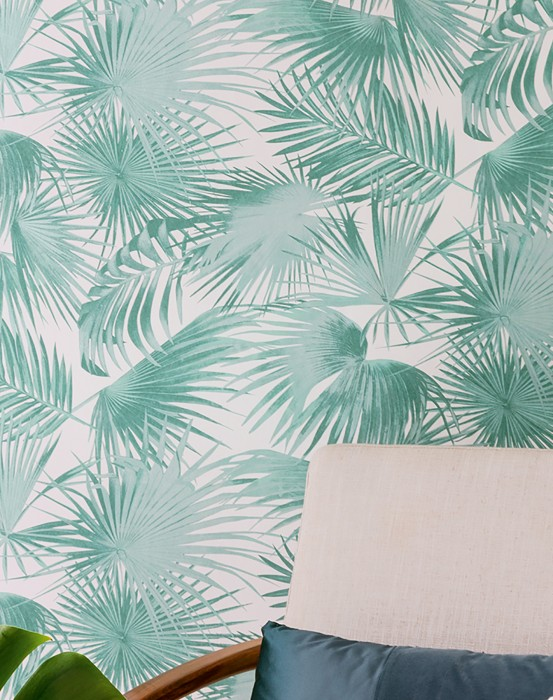 Wallpaper Konda Matt Palm fronds Cream Mint turquoise Pastel turquoise pearl lustre