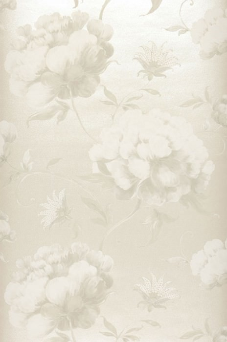 Wallpaper Meila Matt pattern Shimmering base surface Leaves Flowers Light beige grey Pale light green Grey white Oyster white