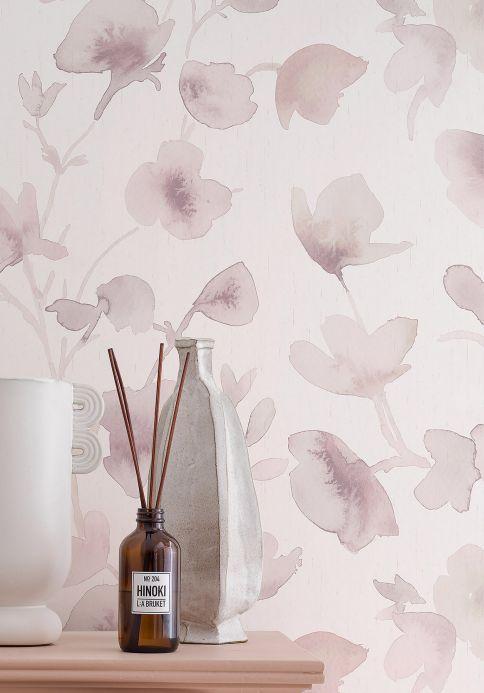 Floral Wallpaper Wallpaper Floresta pale grey brown Room View