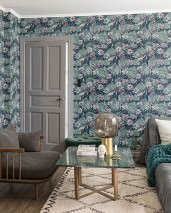 Wallpaper Yvette Hand printed look Matt Water lilies Sapphire blue Grey white Pastel green Pastel turquoise Red