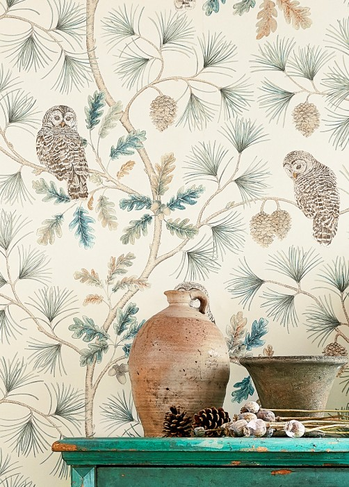 Wallpaper Florentine Matt Owls Branches with leaves and fruit Cream Grey brown Green blue Light grey beige Pine green Ochre yellow