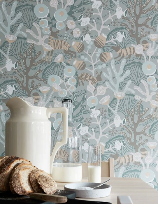 Wallpaper Serena Hand printed look Matt Foxes Rabbits Corals Deer Moss grey Pale brown Cream Light brown beige Light grey Ocean blue