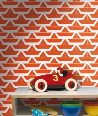 Papel pintado Divis rojo anaranjado Ver habitación