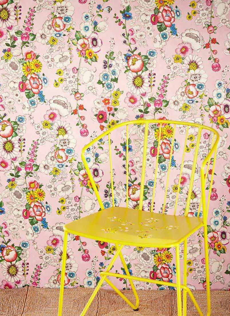 megara hellrosa blau gelb gr n perlweiss rot florale tapeten tapetenmuster tapeten. Black Bedroom Furniture Sets. Home Design Ideas