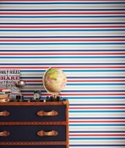 Wallpaper Hanka Matt Stripes Cream Blue Light grey beige Red