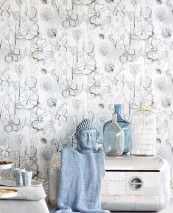 Wallpaper Larentia Hand printed look Metallic effect Matt pattern Shiny base surface Leaves Blossoms Silver metallic Anthracite Grey white Light grey