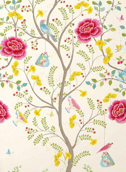 Wallpaper Tamfana Matt Trees Leaves Blossoms Cups Birds Cream Green Yellow Yellow green Light blue Red