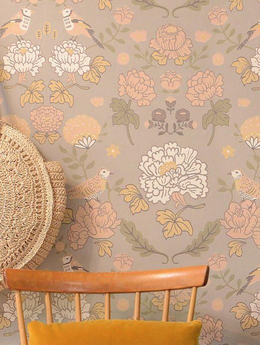 Papel pintado Majvillan Papel pintado June gris claro Ver habitación