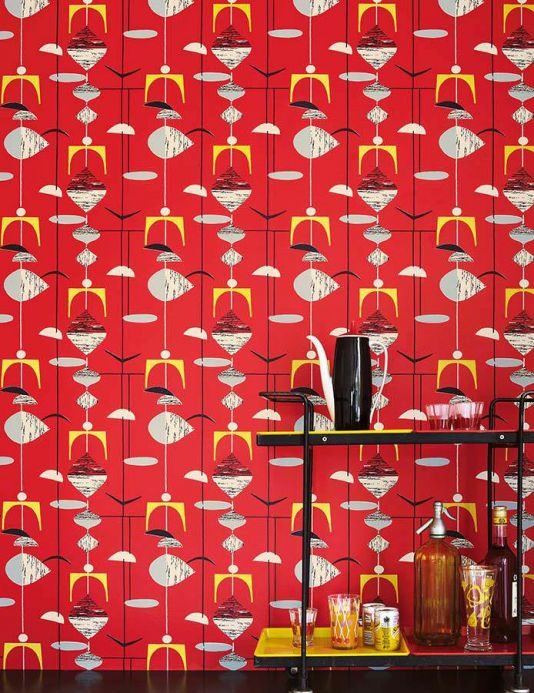 Archiv Wallpaper Tara red Room View