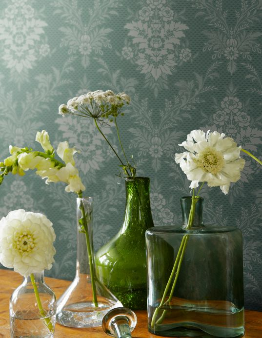 Baroque wallpaper Wallpaper Ikena pebble grey Room View