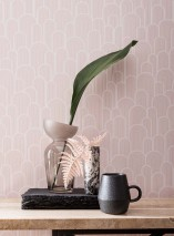 Wallpaper Fanti Matt Bends White Pale pink
