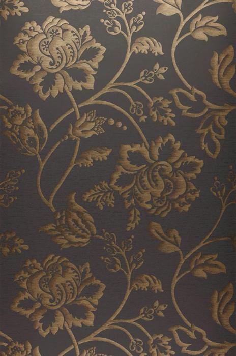 Papel pintado Ninkasi Mate Flores estilizadas Gris negruzco Marrón Oro