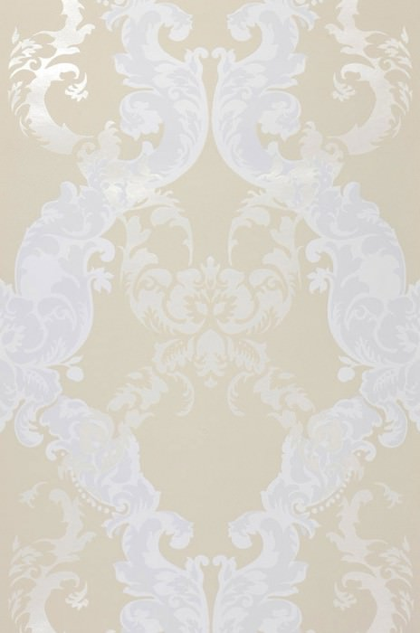 Wallpaper Siemara Shimmering pattern Matt base surface Baroque damask Ivory Pale light grey Light ivory shimmer White grey