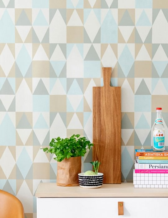 Wallpaper Alice Hand printed look Matt Geometrical elements Brown beige Grey white Moss grey Pastel turquoise