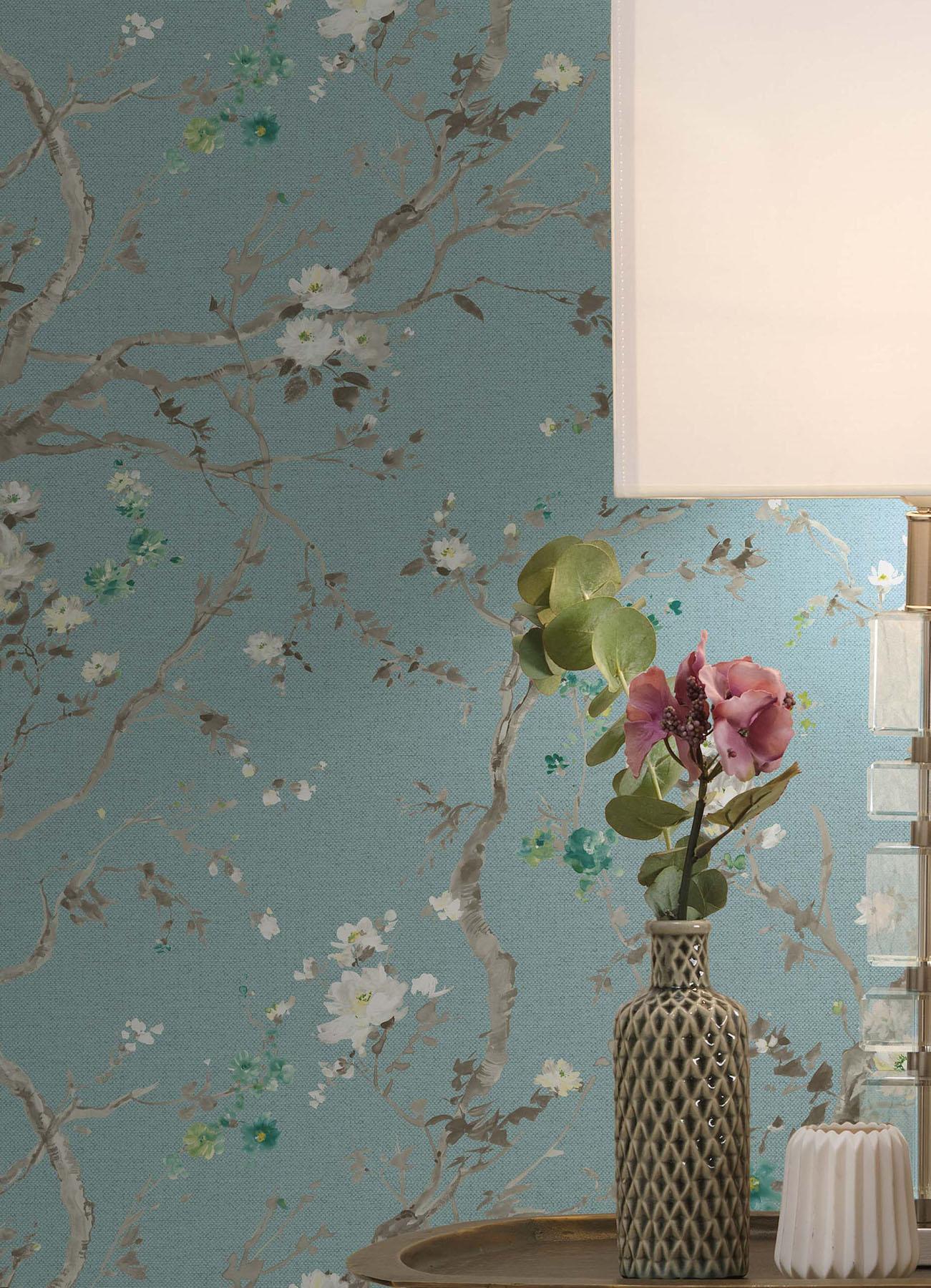 Papier peint Malabar turquoise pastel | Papier peint des années 70