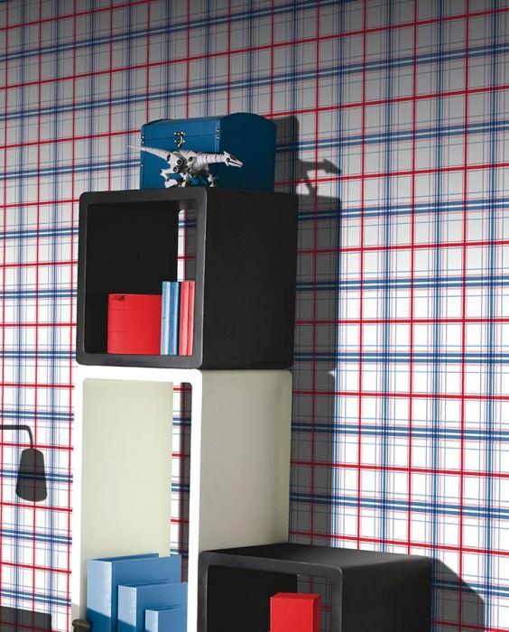 Wallpaper Nikopol Matt Plaid White Blue Light blue Red