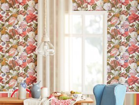 Wallpaper Doriana Matt Looks like textile Flowers Bugs Cream Brown Strawberry red Green Violet blue Pale pink