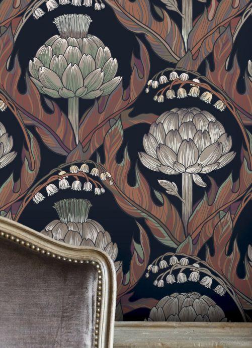 Papier peint classique Papier peint Havane tons de brun Vue pièce