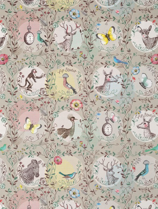 Wallpaper Urania Matt Deer Butterflies Animals Clocks Birds Zebra Light grey Anthracite Blue Yellow Green Rose