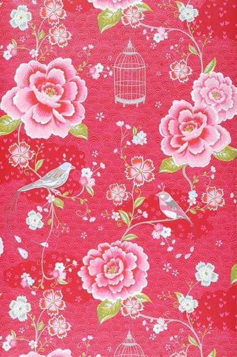 Tapete Amina Matt Blumen Vögel Vogelkäfige Erdbeerrot Gelbgrün Rosa Weiss