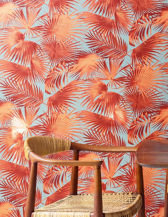 Wallpaper Konda Matt Palm fronds Grey Pastel orange Pearlescent pink Wine red