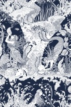 Wallpaper Mermaids Matt Fishes Mermaids Shells Dark blue Cream