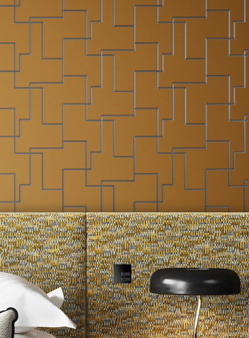 Geometric Wallpaper Wallpaper Salvador ochre brown Room View