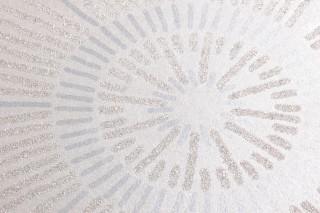 Papel pintado Riverana Brillante Flores estilizadas grandes Blanco crema brillante Blanco crema brillantina Gris claro perla