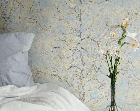 Wallpaper VanGogh Tree pastel turquoise Room View