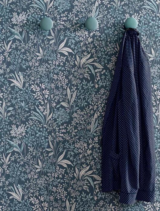 Papel pintado Pilar Mate Hojas Flores Frutas Azul grisáceo Gris Azul verdoso Gris claro